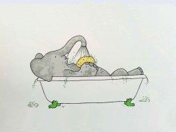 16 Babar neemt bad